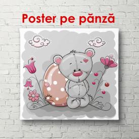 Poster, Ursulețul Teddy pe un fundal gri