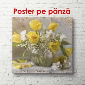 Poster, Vaza cu flori albe și galbene