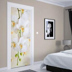 Stickere 3D pentru uși, Orhidee albe, 1 foaie de 80 x 200 cm