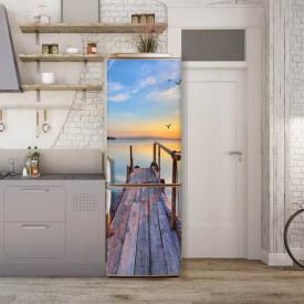 Stickerele decorative, pentru uși, Apusul de soare la mare, 1 foaie de 80 x 200 cm