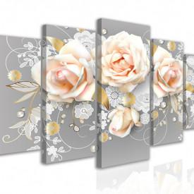 Tablou modular, Buchet delicat de trandafiri bej pe un fundal gri