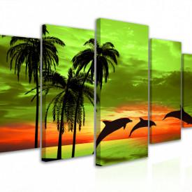 Tablou modular, Delfinii la apus de soare 1