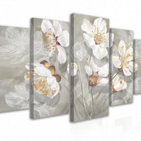 Tablou modular, Flori albe pe fundal gri