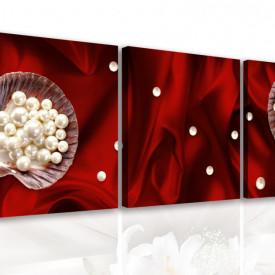 Tablou modular, Flori albe pe un fundal roșu