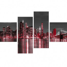 Tablou modular, Oraș în lumini roșii