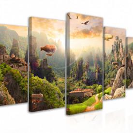 Tablou modular, Peisaj montan în parc verde