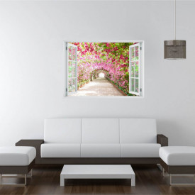 Fereastră falșă, Fereastră 3D cu vederea spre un tunel din flori