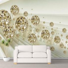 Fototapet 3D, Sfere de aur într-un tunel alb