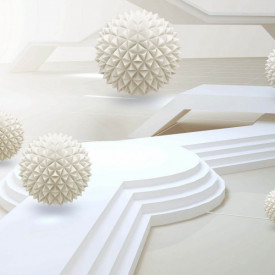 Fototapet 3D, Sfere în spațiu cu trepte