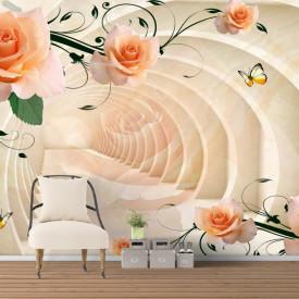 Fototapet 3D, Trandafiri bej pe fundalul unui tunel
