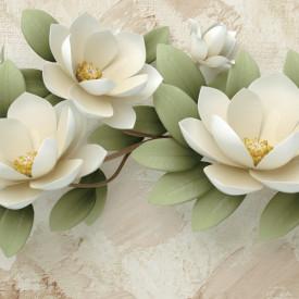 Fototapet Botanica, Crenguță cu flori albe pe fond bej