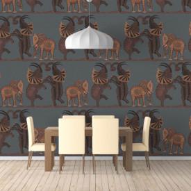 Fototapet, Elefanți dansatori maronii pe un fundal întunecat