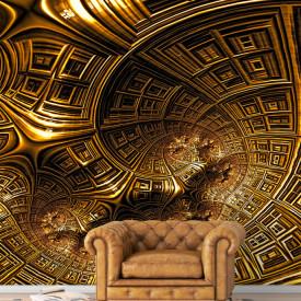 Fototapet Factura, Modelul abstract de aur sub formă de spirală din clădiri
