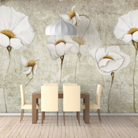 Fototapet Fantezie, Flori albe de flori sălbatice delicate pe un fond gri
