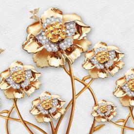 Fototapet Fantezie, Flori de aur cu fluturi pe un fond alb