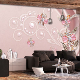 Fototapet Fantezie, Flori roz din pietre pe un fond roz