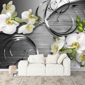Fototapet Fantezie, Orhideea albă pe un fond gri cu ornamente negre