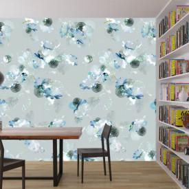 Fototapet, Flori albastre pe un fundal gri