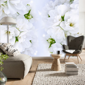 Fototapet, Flori albe de primăvară