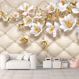 Fototapet, Flori albe și ramuri aurii pe un fundal alb