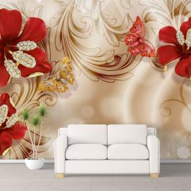 Fototapet, Flori roșii pe un fundal bej