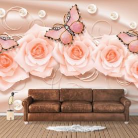 Fototapet, Flori roz cu fluturi pe un fundal roz