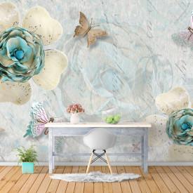 Fototapet, Flori și fluturi pe un fundal delicat