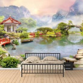 Fototapet Fresco, Fototapete cu o grădină frumoasă chineză
