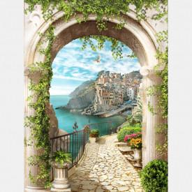 Fototapet Fresco, O priveliște a munților și a lacului