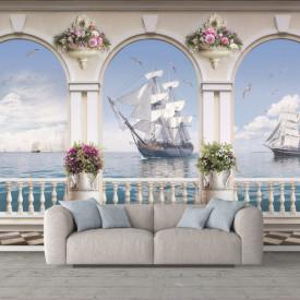 Fototapet Fresco, Pescărușii zboară peste nave
