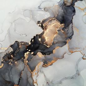 Fototapet, Gri-negru cu fluid auriu