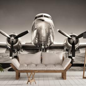 Fototapet, Imagine de avion alb-negru