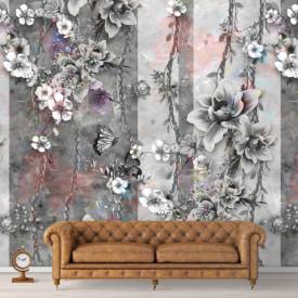 Fototapet, Imprimeu floral frumos în culori reci