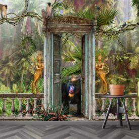 Fototapet, Intrare părăsită în adâncimea junglei