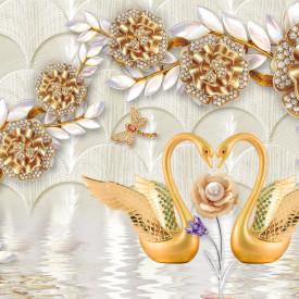 Fototapet, Lebede de aur și broșe de flori