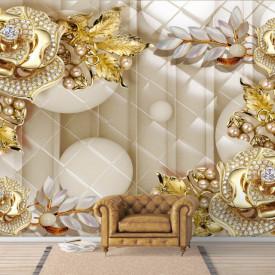 Fototapet, O broșă de aur sub formă de flori pe un fundal abstract