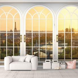 Fototapet, O fereastră arcuită albă, cu Priveliște spre Paris