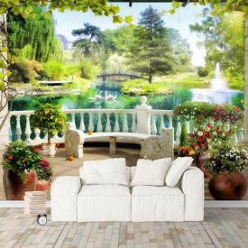 Fototapet, O terasă de vară cu Priveliște la grădină