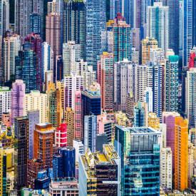 Fototapet Orase, Zgârie-nori colorați