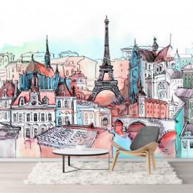 Fototapet, Parisul pictat în culori calde