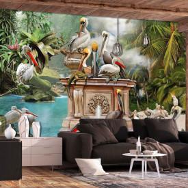 Fototapet, Păsări într-o grădină exotică