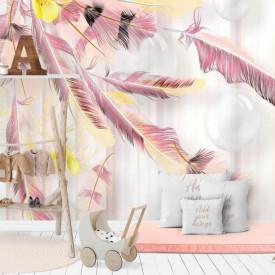 Fototapet, Pene roz și flori galbene pe un fundal alb