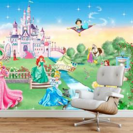 Fototapet, Prințesele Disney în curtea castelului