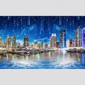 Fototapet, Un oraș albastru pe apă