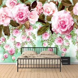 Fototapet, Un trandafir roz pe un fundal verde