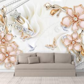 Fototapet, Verighete și flori de sticlă pe mătase