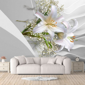 Fototapete 3D, Crini abi pe un fundal de mătase alb