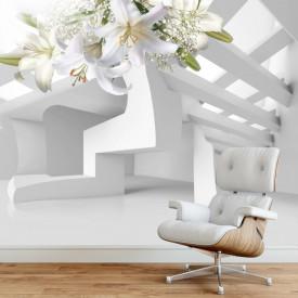 Fototapete 3D, Crini albi cu ornamente aurii pe un fundal 3D