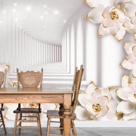 Fototapete 3D, Flori albe cu elemente aurii pe fundalul unui tunel cu pereți albi