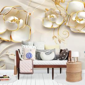 Fototapete 3D, Flori albe cu ornamente aurii pe un fundal de mătase